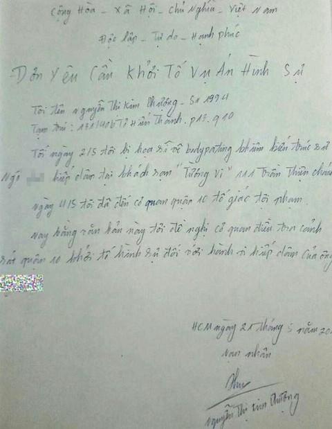 Ngay sau khi có kết quả giám định, người mẫu Nguyễn Thị Kim Phượng đã thuê luật sư và làm đơn yêu cầu khởi tố vụ án gửi đến Công an Quận 10, TP.HCM