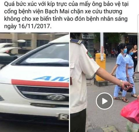 Bệnh viện Bạch Mai phản hồi thông tin bảo vệ chặn xe cứu thương
